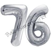 Luftballon Zahl 76, silber, 86 cm