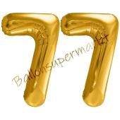 Luftballon Zahl 77, gold, 86 cm