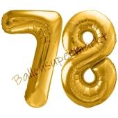 Luftballon Zahl 78, gold, 86 cm