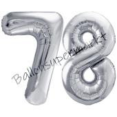 Luftballon Zahl 78, silber, 86 cm