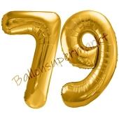 Luftballon Zahl 79, gold, 86 cm