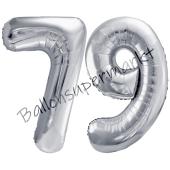 Luftballon Zahl 79, silber, 86 cm