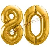Luftballon Zahl 80, gold, 86 cm