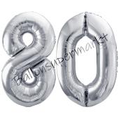 Luftballon Zahl 80, silber, 86 cm