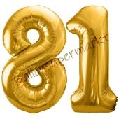 Luftballon Zahl 81, gold, 86 cm