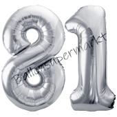Luftballon Zahl 81, silber, 86 cm