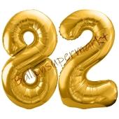 Luftballon Zahl 82, gold, 86 cm