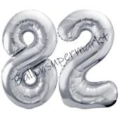 Luftballon Zahl 82, silber, 86 cm