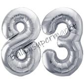Luftballon Zahl 83, silber, 86 cm