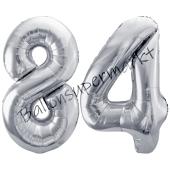 Luftballon Zahl 84, silber, 86 cm