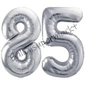 Luftballon Zahl 85, silber, 86 cm