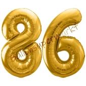 Luftballon Zahl 86, gold, 86 cm
