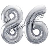 Luftballon Zahl 86, silber, 86 cm