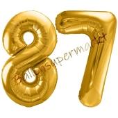 Luftballon Zahl 87, gold, 86 cm