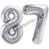 Luftballon Zahl 87, silber, 86 cm