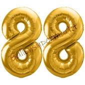 Luftballon Zahl 88, gold, 86 cm