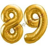 Luftballon Zahl 89, gold, 86 cm