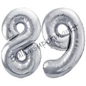 Luftballon Zahl 89, silber, 86 cm