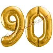 Luftballon Zahl 90, gold, 86 cm