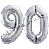 Luftballon Zahl 90, silber, 86 cm