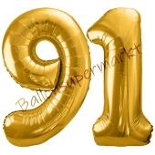 Luftballon Zahl 91, gold, 86 cm
