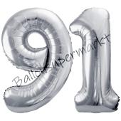 Luftballon Zahl 92, silber, 86 cm