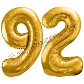 Luftballon Zahl 92, gold, 86 cm
