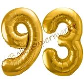 Luftballon Zahl 93, gold, 86 cm