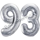 Luftballon Zahl 93, silber, 86 cm
