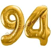 Luftballon Zahl 94, gold, 86 cm