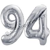 Luftballon Zahl 94, silber, 86 cm