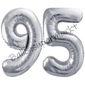Luftballon Zahl 95, silber, 86 cm