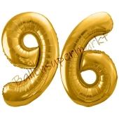 Luftballon Zahl 96, gold, 86 cm