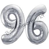 Luftballon Zahl 96, silber, 86 cm