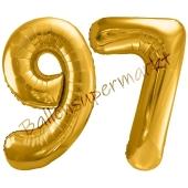 Luftballon Zahl 97, gold, 86 cm