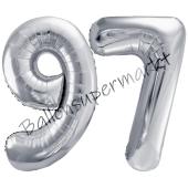 Luftballon Zahl 97, silber, 86 cm