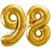 Luftballon Zahl 98, gold, 86 cm