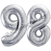 Luftballon Zahl 98, silber, 86 cm