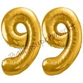 Luftballon Zahl 99, gold, 86 cm