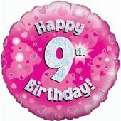 Luftballon aus Folie zum 9. Geburtstag, Happy 9th Birthday Pink