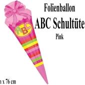 ABC Schultüte in Pink, großer Luftballon aus Folie mit Ballongas-Helium zu Schulanfang, Einschulung, Schulbeginn
