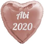 Luftballon Herz Abi 2020, rosegold-weiß, mit Helium Ballongas