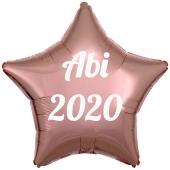 Luftballon Stern Abi 2020, rosegold-weiß, mit Helium Ballongas