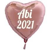Luftballon Herz Abi 2021, rosegold-weiß, mit Helium Ballongas