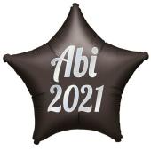 Luftballon Stern Abi 2021, schwarz-weiß, mit Helium Ballongas