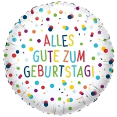 Luftballon Alles Gute zum Geburtstag, Confetti Birthday, ohne Helium-Ballongas