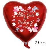 Großer Luftballon, Alles Gute zur Hochzeit Blumenranken,71 cm