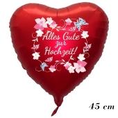 Roter Herzluftballon Alles Gute zur Hochzeit. Blumenranken, ohne Helium