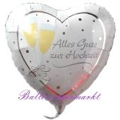 Hochzeitsluftballon aus Folie, Folienballon Herz, Alles Gute zur Hochzeit, ohne Helium
