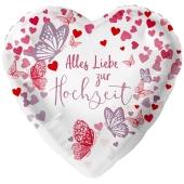 Alles Liebe zur Hochzeit, Schmetterlinge, Herzballon zur Hochzeit, Folienballon inklusive Helium